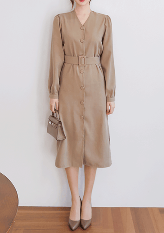 Belt Button Midi Dress