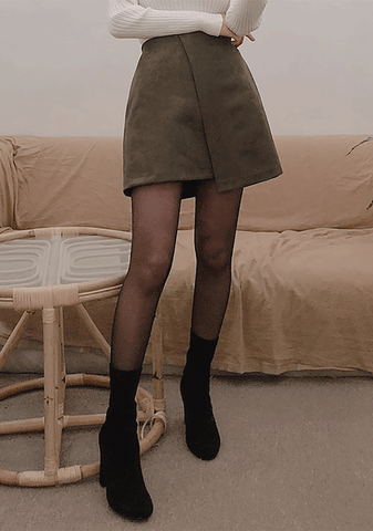Leather Suede Unbalanced Skirt
