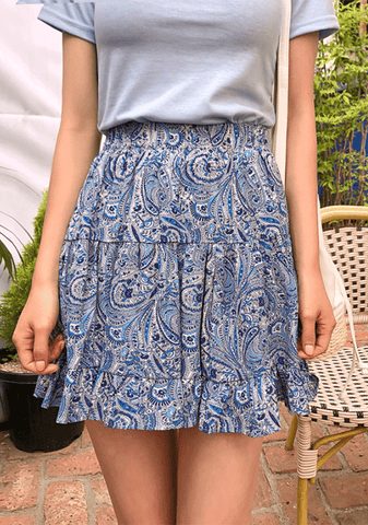 Paisley Banding Mini Skirt