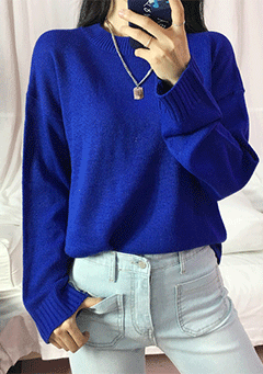 One Two Three Round Neck Knit Top
