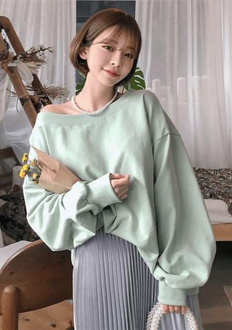Spring Pastel Off Shoulder Sweatshirt
