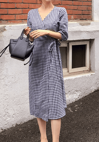 Picnic Party Gingham Wrap Dress