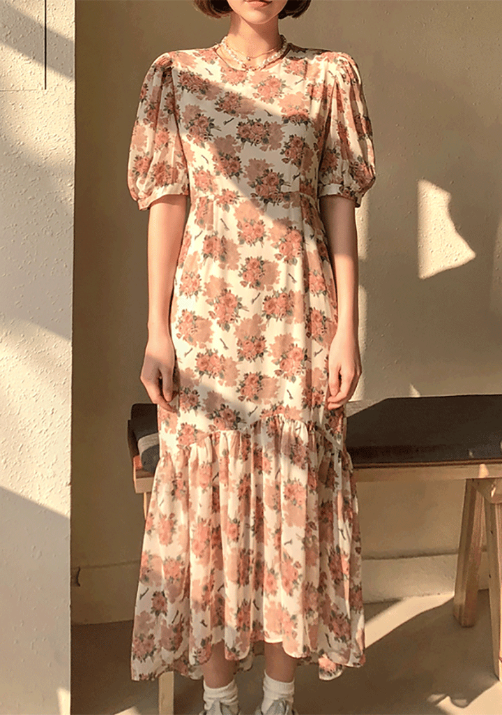 Blooming Flowers Vintage Dress