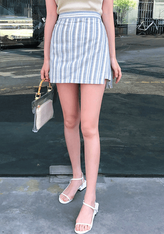 Striped Linen Banding Skort
