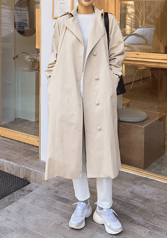Spring Fall Loose Fit Trench Coat