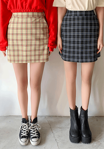 Unique Checkered H-Line Mini Skirt