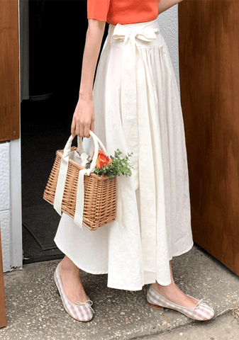 Comfy Linen Ribbon Long Skirt