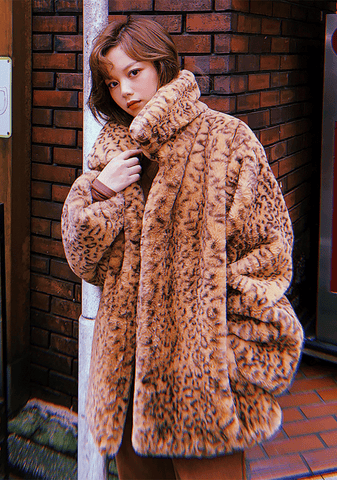 Come With Me Leopard Faux Fur Jacket