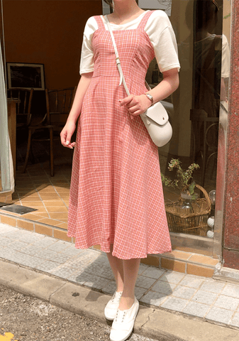 Checked Sleeveless Long Dress