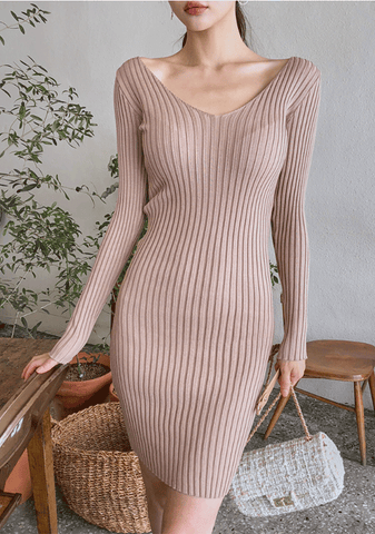 Tight V-Neck Daily Knit Dress
