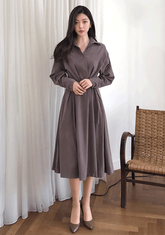 Tie Waist Long Shirt Dress