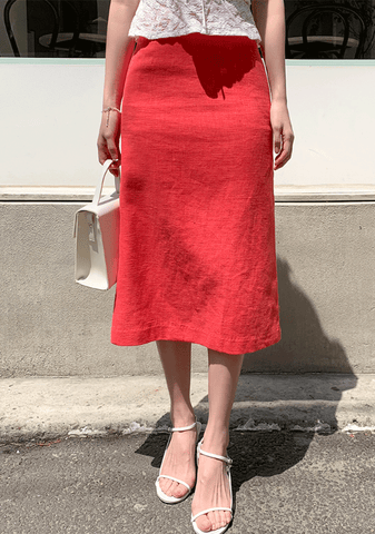Smoothed Down Linen Skirt