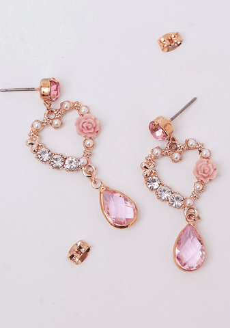Lovely Rose Sparkly Earring
