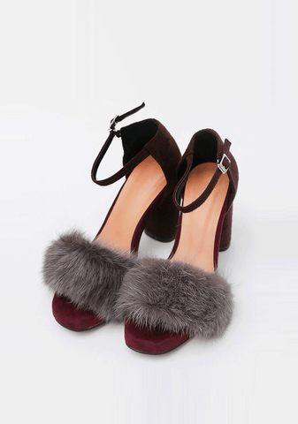 Block Heeled Sandal With Fur
