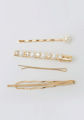 4 Hair Clips With Pearl Details