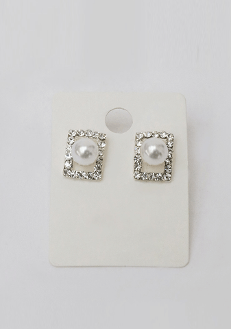Square Cubic Pearl Earring
