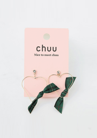 Heart With Check Ribbon Earring