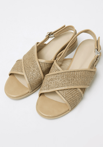 Straw Cross Sandals 2cm