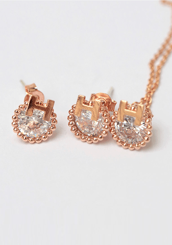 H Pointed Earring+Necklace Set