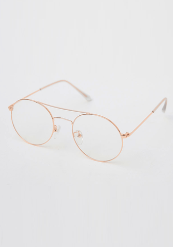 Double Brow Round Glasses