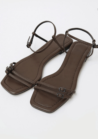 Two Thin Belts Strap Sandals