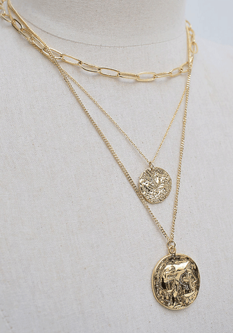 Layered Coin Pendant Necklace Set