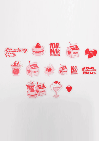 Strawberry Milk Strawberry Plate Sticker