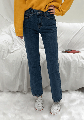 Cotton Basic Straight Jeans