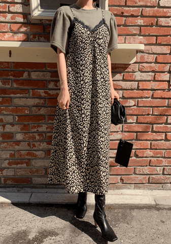 Long Lace Leopard Dress