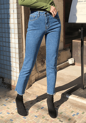 Cotton Napped Straight Jeans