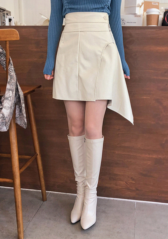 Duche De Leche Uneven Leather Skirt