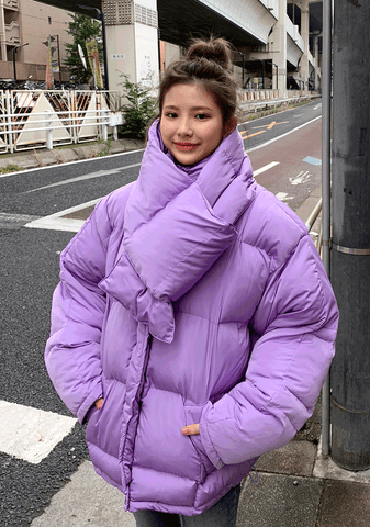 Light Wellon Padded Jacket+Muffler Set