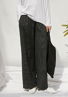 Cotton Stripe Wide Pants