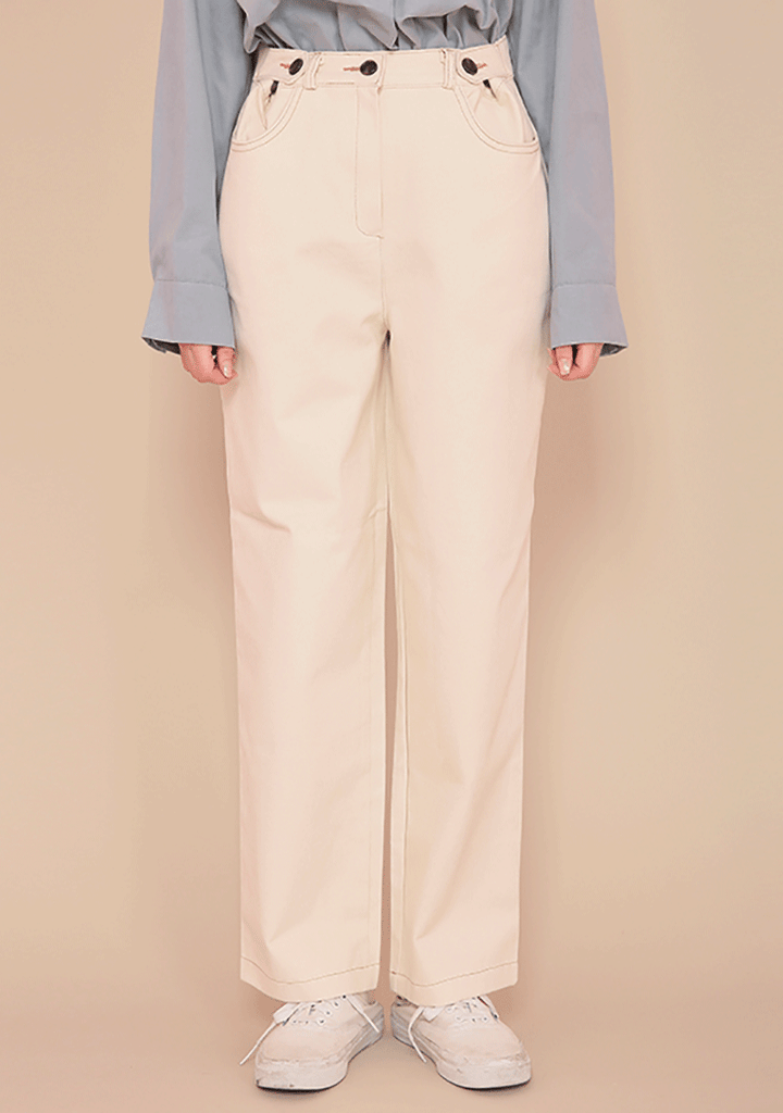 Button Stitch Straight Pants