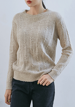 Twisted Round Neck Knit Top
