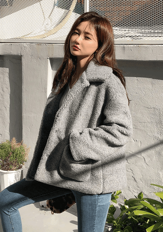 Pocket Shearling Teddy Jacket