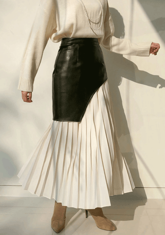 Unbalanced Leather Pleated Skirt
