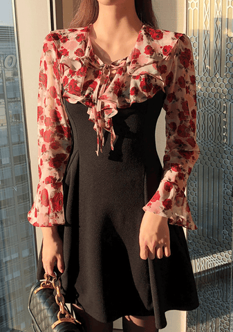 Floral Blouse Layered Dress