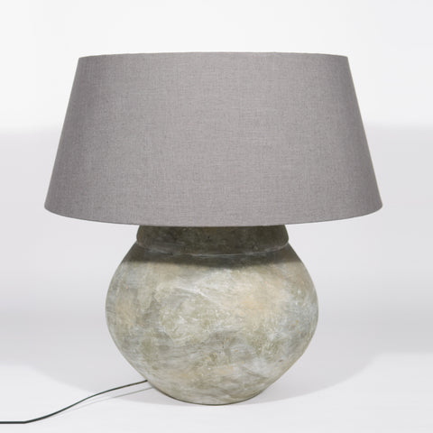 Ceramic Lamp Indonesia with linen shade.