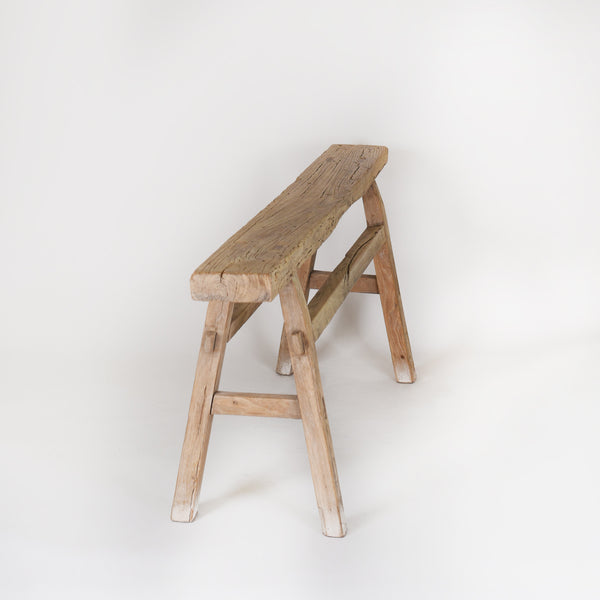 Bench Antique Elm Wood Small