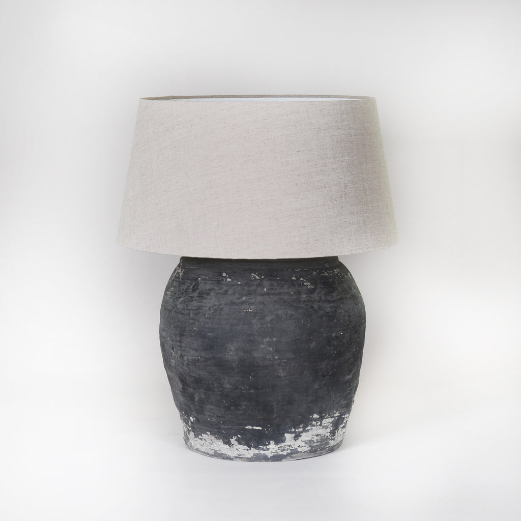 Handmade Lamp Base Ceramic Black with Linen Shade