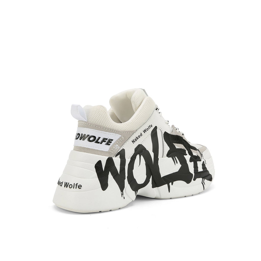 Track Logo White Leather - Naked Wolfe