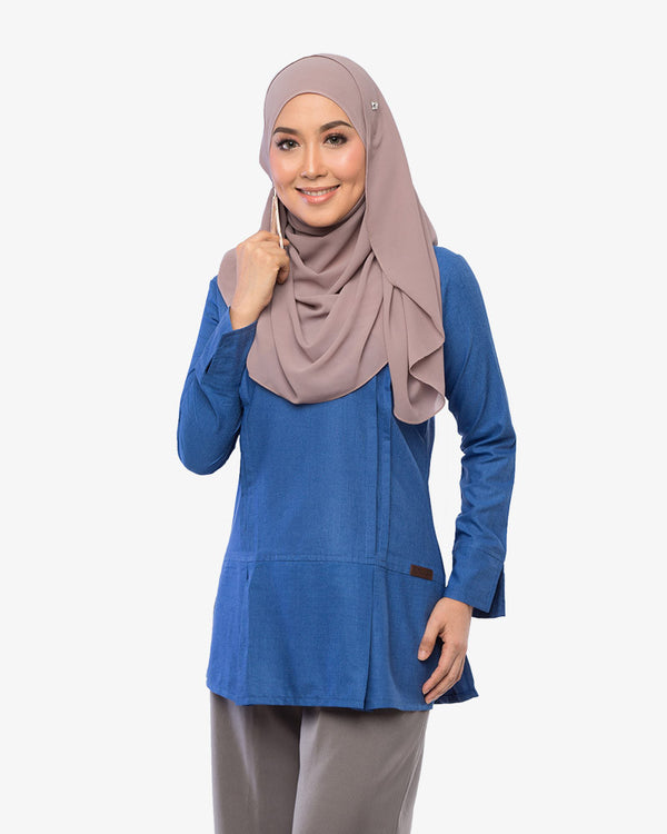 Pleated Blouse Clara Silky Blue
