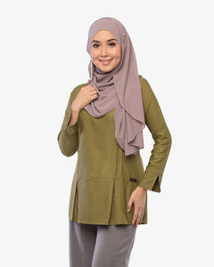 Pleated Blouse Clara Silky Green
