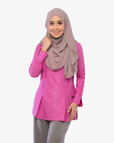 Pleated Blouse Clara Silky Pink