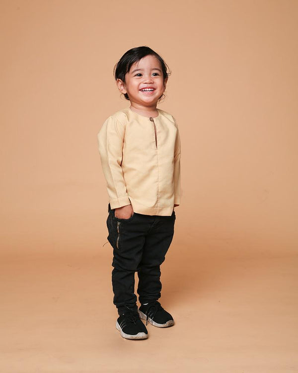 Kurta Teluk Belanga Kids Soft Yellow