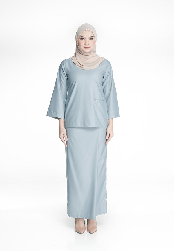 Azizah Mini Kurung Dusty Blue
