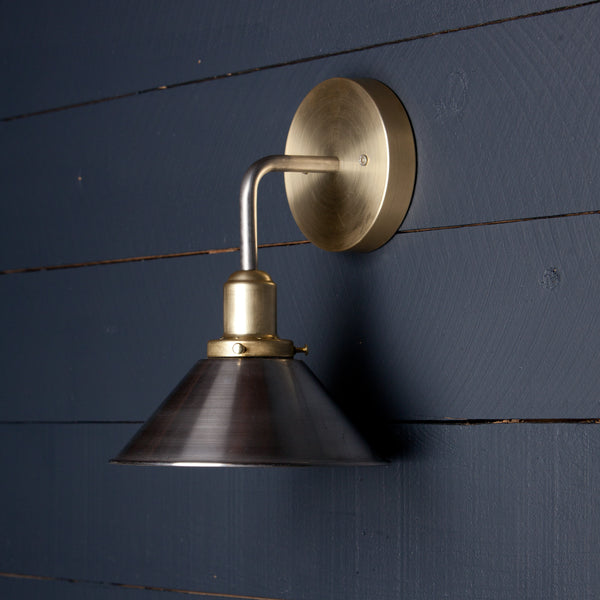 Mixed Metal Cone Shade Wall Sconce fixture