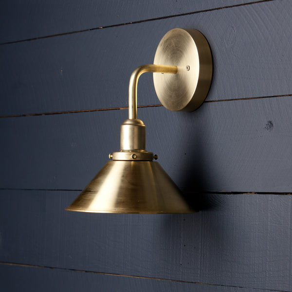 Brass Cone Shade Wall Sconce
