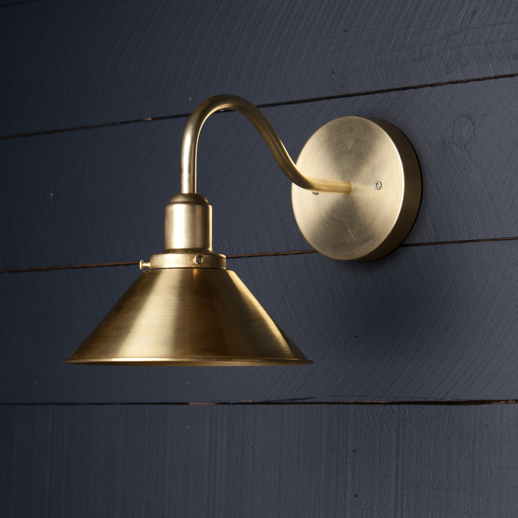 Gooseneck Brass Shade Wall Sconce Two Kings Co